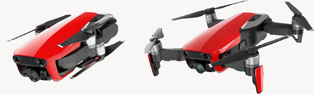 DJI Mavic Air in rot - faltbare 4k-Drohne in der Fly More Combo.