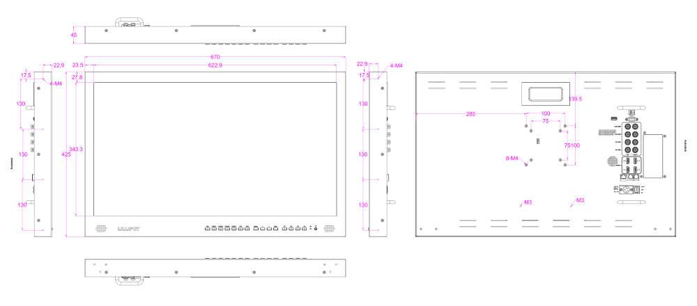 Abmessungen des Lilliput BM280-12G